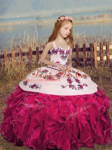 Hot Pink Sleeveless Organza Lace Up Little Girl Pageant Gowns for Party and Sweet 16 and Wedding Party