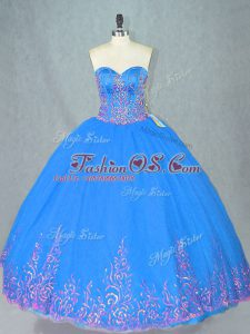 Blue Sweetheart Lace Up Beading and Embroidery Ball Gown Prom Dress Sleeveless