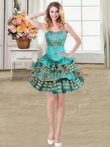 Lovely Teal Ball Gowns Sweetheart Sleeveless Taffeta Mini Length Lace Up Embroidery and Ruffled Layers Celebrity Inspired Dress