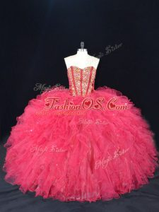 Coral Red Ball Gowns Beading and Ruffles Quinceanera Gown Lace Up Tulle Sleeveless