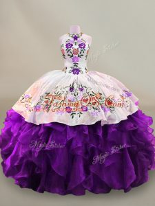 White And Purple Sleeveless Floor Length Embroidery Lace Up 15 Quinceanera Dress