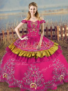 Trendy Floor Length Lace Up Quinceanera Gowns Fuchsia for Sweet 16 and Quinceanera with Embroidery
