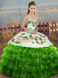 Organza Sweetheart Sleeveless Lace Up Embroidery and Ruffled Layers and Bowknot 15 Quinceanera Dress in Green