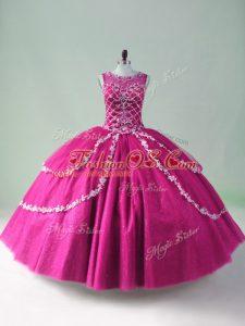 Fashionable Fuchsia Zipper 15th Birthday Dress Beading and Appliques Sleeveless Floor Length