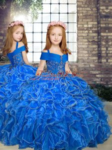 Blue Sleeveless Floor Length Beading and Ruffles Lace Up Girls Pageant Dresses