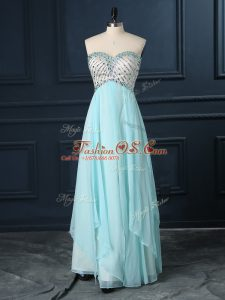 Customized Empire Prom Evening Gown Light Blue Sweetheart Chiffon Sleeveless Floor Length Zipper