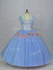 Spectacular Blue Quinceanera Dress Sweet 16 and Quinceanera with Beading Sweetheart Sleeveless Lace Up