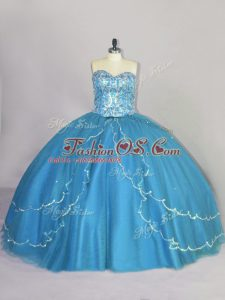 Sleeveless Tulle Brush Train Lace Up Quinceanera Dresses in Blue with Beading