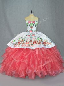 Watermelon Red Satin and Organza Lace Up Quinceanera Dresses Sleeveless Embroidery and Ruffles