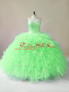 Lovely Sweetheart Sleeveless Quinceanera Dress Floor Length Beading and Ruffles Tulle