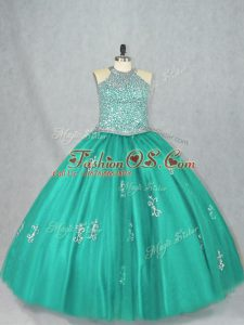 Eye-catching Turquoise Sleeveless Tulle Lace Up Quinceanera Gown for Sweet 16 and Quinceanera