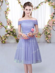 Short Sleeves Tulle Knee Length Lace Up Wedding Party Dress in Lavender with Belt