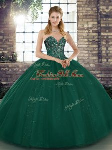 Deluxe Peacock Green Sweet 16 Dress Military Ball and Sweet 16 and Quinceanera with Beading Sweetheart Sleeveless Lace Up