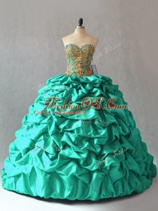 Noble Lace Up Quinceanera Gowns Turquoise for Sweet 16 and Quinceanera with Beading and Pick Ups Brush Train