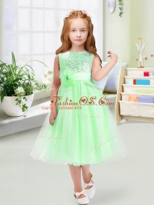 Colorful Tea Length Empire Sleeveless Flower Girl Dress Zipper