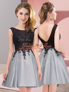 Stylish Grey Sleeveless Lace Mini Length Vestidos de Damas
