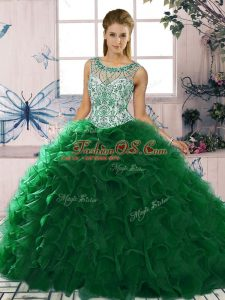 Trendy Dark Green Organza Lace Up 15th Birthday Dress Sleeveless Floor Length Beading and Ruffles
