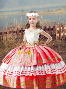 Charming Floor Length Watermelon Red Little Girls Pageant Dress Wholesale Off The Shoulder Sleeveless Lace Up