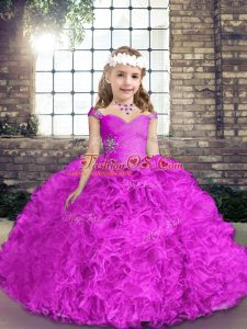 Low Price Fuchsia Ball Gowns Beading Child Pageant Dress Lace Up Fabric With Rolling Flowers Sleeveless Floor Length