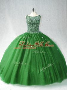 Dark Green Ball Gowns Tulle Scoop Sleeveless Beading Zipper Quinceanera Dresses Brush Train