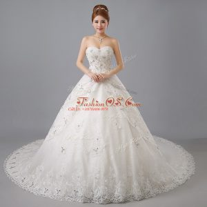 Sleeveless Chapel Train Lace Up Beading and Lace Wedding Gowns