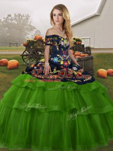 Green Tulle Lace Up Off The Shoulder Sleeveless 15th Birthday Dress Brush Train Embroidery and Ruffled Layers