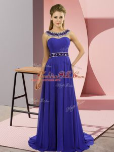 Suitable Blue Sleeveless Chiffon Brush Train Zipper Mother Of The Bride Dress for Prom and Party