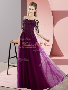 Great Fuchsia Chiffon Lace Up Dama Dress for Quinceanera Half Sleeves Floor Length Beading and Lace