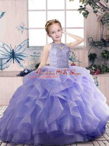 Lavender Little Girl Pageant Gowns Party and Sweet 16 and Wedding Party with Beading and Ruffles Scoop Sleeveless Zipper