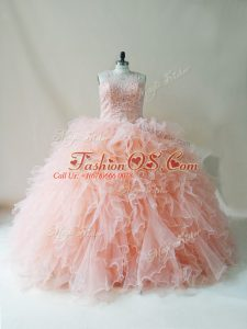 Lovely Peach Ball Gowns Tulle Scoop Sleeveless Beading and Ruffles Floor Length Lace Up 15 Quinceanera Dress