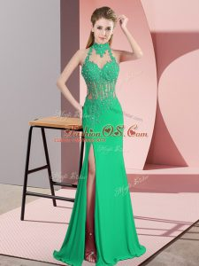 Traditional Column/Sheath Prom Dresses Green Halter Top Chiffon Sleeveless Floor Length Backless