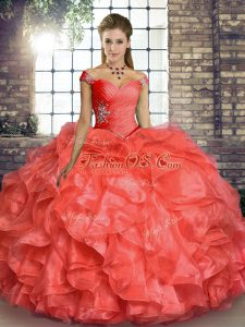 Organza Off The Shoulder Sleeveless Lace Up Beading and Ruffles Quinceanera Gown in Coral Red