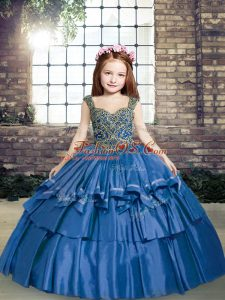 Simple Blue Ball Gowns Beading Pageant Dress for Girls Lace Up Taffeta Sleeveless Floor Length