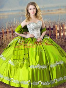 Shining Lace Up Ball Gown Prom Dress Beading and Embroidery Sleeveless Floor Length