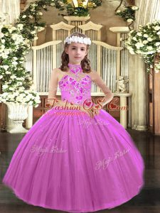 Halter Top Sleeveless Lace Up Kids Formal Wear Lilac Tulle