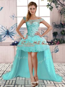 Cheap Off The Shoulder Sleeveless Tulle Prom Gown Beading and Ruffles Lace Up