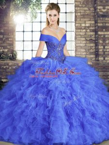 Low Price Floor Length Lace Up Sweet 16 Quinceanera Dress Blue for Military Ball and Sweet 16 and Quinceanera with Beading and Ruffles