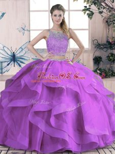 High End Scoop Sleeveless 15th Birthday Dress Floor Length Beading and Lace and Ruffles Purple Tulle