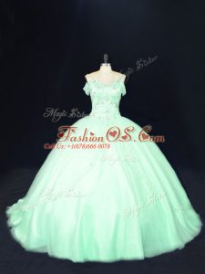 Cute Apple Green Off The Shoulder Lace Up Beading 15 Quinceanera Dress Court Train Sleeveless