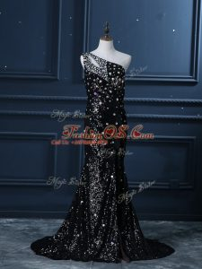 Sequined One Shoulder Sleeveless Brush Train Backless Beading Womens Evening Dresses in Black