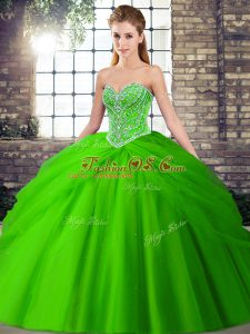 Popular Green 15th Birthday Dress Sweetheart Sleeveless Brush Train Lace Up