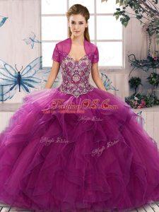 Customized Fuchsia Sleeveless Floor Length Beading and Ruffles Lace Up Sweet 16 Quinceanera Dress
