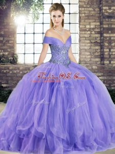 Amazing Lavender Ball Gowns Beading and Ruffles Ball Gown Prom Dress Lace Up Tulle Sleeveless Floor Length