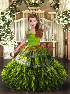 Ruffles Kids Pageant Dress Olive Green Lace Up Sleeveless Floor Length