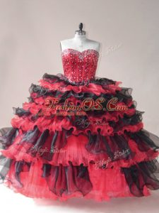 Best Red And Black Sweetheart Neckline Beading and Ruffled Layers Ball Gown Prom Dress Sleeveless Lace Up