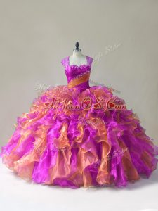 Romantic Organza Sleeveless 15 Quinceanera Dress and Beading and Ruffles