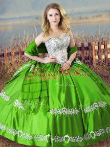 Green Lace Up Sweet 16 Quinceanera Dress Beading and Embroidery Sleeveless Floor Length