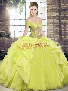 Custom Design Beading and Ruffles Quinceanera Gowns Yellow Lace Up Sleeveless Floor Length