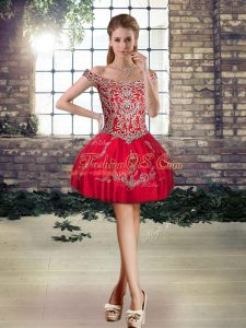 Custom Designed Red Lace Up Off The Shoulder Beading and Appliques Celebrity Dresses Tulle Sleeveless