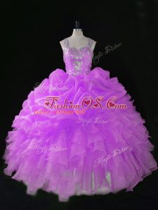 Clearance Lilac Zipper Straps Sequins and Pick Ups 15th Birthday Dress Organza Sleeveless
